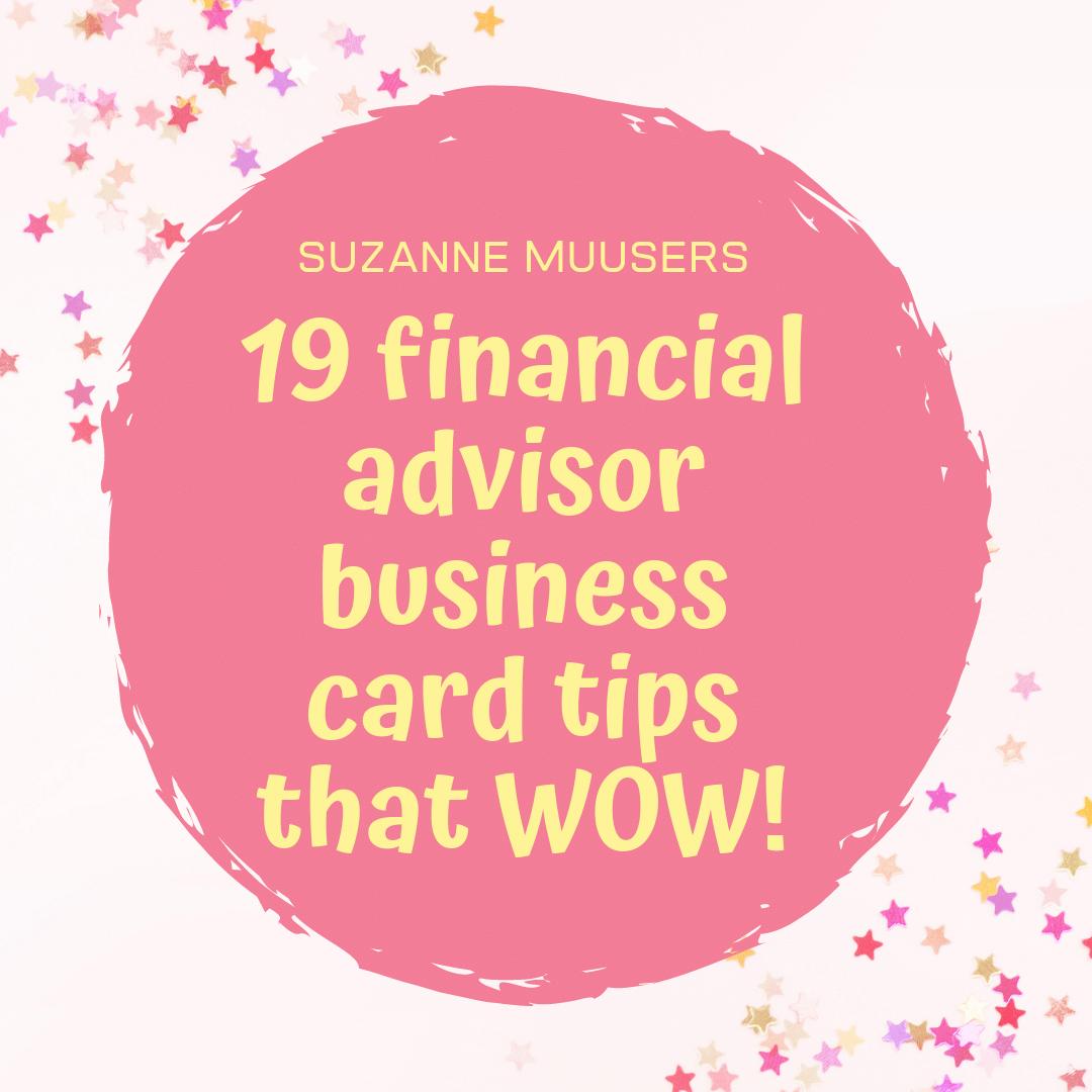 financial advisor business card tips
