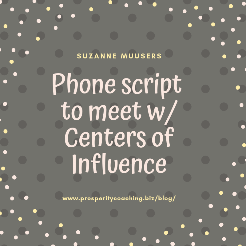 financial advisor phone script to meet with centers of influence