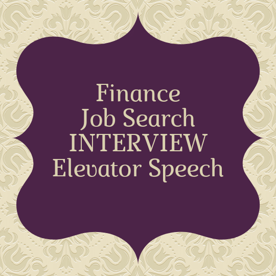 interview finance elevator speech