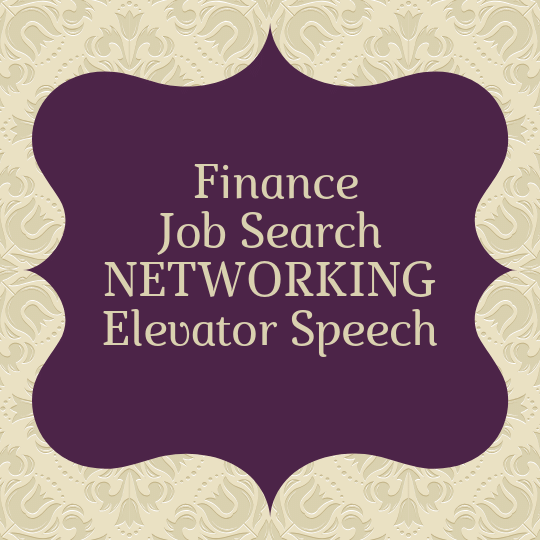 networking finance elevator speech