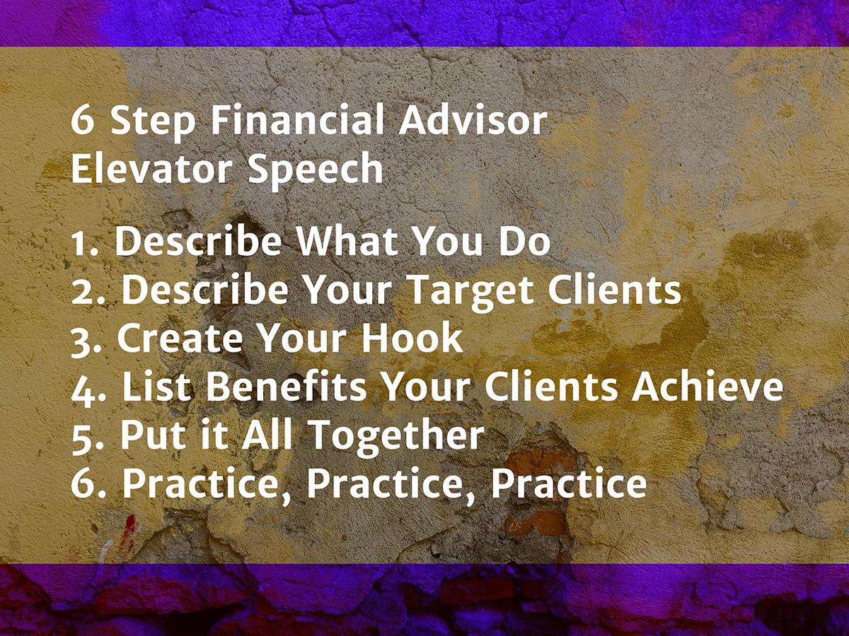 Financial Advisor Elevator Speech - samples, examples, and more